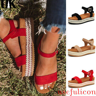 Womens Ladies Flatform Espadrille Wedge Sandals Ankle Stage Open Toe Shoes Size