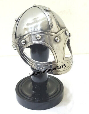 Medieval Viking Mask Deluxe Mini Helmet with Wooden Stand