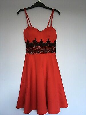 Bnwt Boohoo Boutique Lace Dress Size 8 Red Plunge Skater