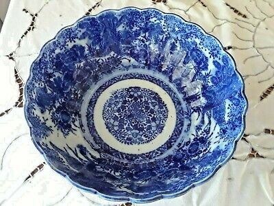 "Antique Japanese Meiji Period 9 1/2"" Blue & White Arita Imari Peacock Bowl"