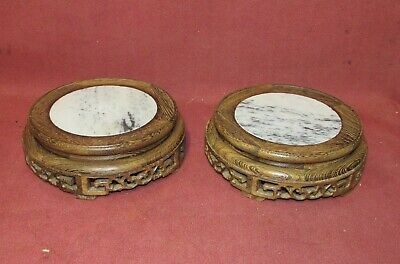 Pair Old or Antique Chinese Hardwood  Jichimu Stands with Marble