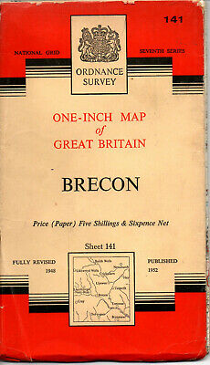 1959 Vintage Ordnance Survey One-Inch Seventh Series Map Sheet 141 Brecon