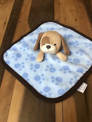 Koala Baby Puppy Dog Lovey Plush Security Blanket Blue Brown Paw Print Crib Toy