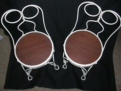 Pair Antique Twisted Heart White Wrought Iron Ice Cream Parlor Children's Chairs