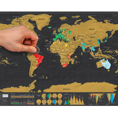1pcs Deluxe Erase Black World Map Scratch off World Map Personalized Travel