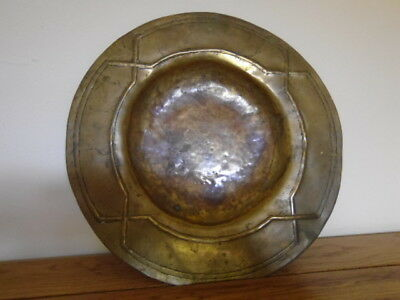 "Antique Arts & Crafts Hand Crafted 9"" Brass Dish With Hammered Crossover Border"