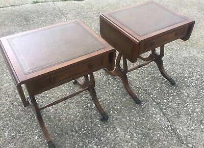 Antique Pair Of Duncan Phyfe Reprodux Walnut Lyre Base End Tables Nightstands