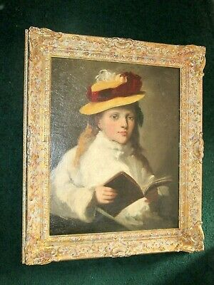 Portrait of a young girl wearing a hat, antique oil painting on canvas.