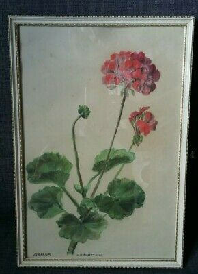 Vintage Pastel Painting of Red Geranium Flower Original Framed Signed MW Pickett
