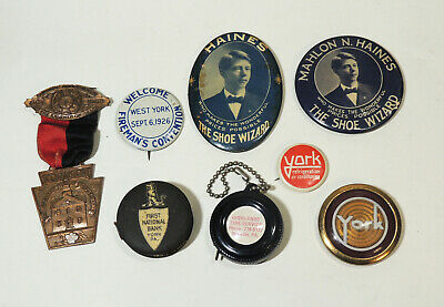 YORK, PA Advertising Lot Antiques Vintage pinback badge Celluloid Tape Measure