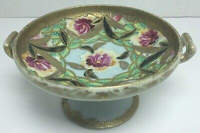 Vintage Chinese Footed Hand Painted Small Dish With Gold Gild