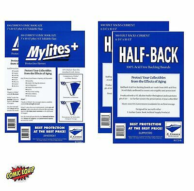 200 Mylites+ CURRENT Mylar Bags & Half Back Boards COMBO 700M+/675FHB E.Gerber