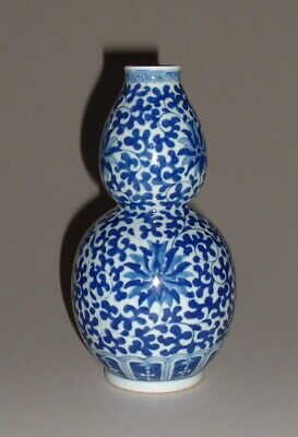 Old Chinese Blue & White Double Gourd Vase - Late Qing 0R Republic -- No Reserve