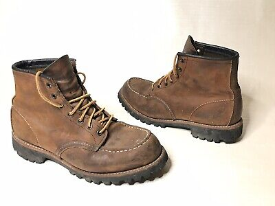 RED WINGS SHOES x J. Crew 4537 MOC BOOTS USA MADE SZ 9 BROWN ROUGHNECK HERITAGE
