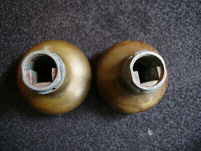 Small Brass Antique Patina Vintage Door Knob Pair Large Hole for Spindle Unusual