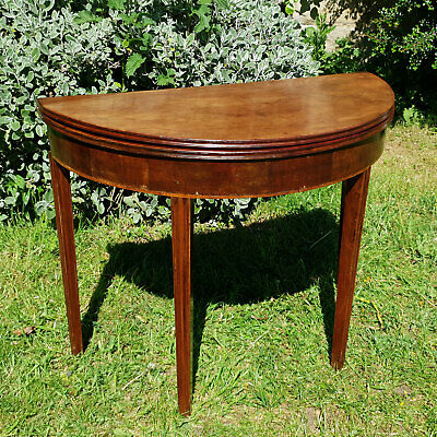 George III Mahogany Demi-Lune Console Fold-Over Tea Table C1780 (Georgian)