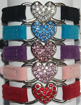 Soft Velvet Elasticated Cat Collar with Diamante Heart & Engraved ID Tag