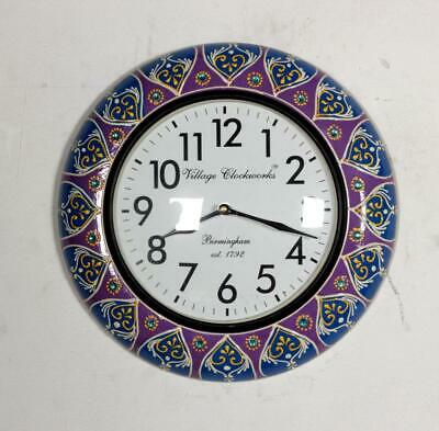 Vintage Home Decor Antique Look Brass Engraving Work Wall Clock Ethnic India 280