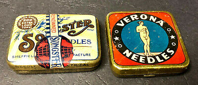 Vintage VERONA & SONGSTER Phonograph Gramophone Needles (lot of 2) litho adv