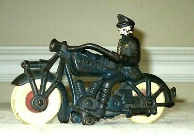 "1930's CHAMPION POLICE COP ON MOTORCYCLE -CAST IRON TOY ANTIQUE VINTAGE-7""-"