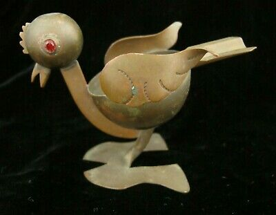 Vintage TAXCO Mexico Brass Copper Chicken Ashtray Red Gem Eyes