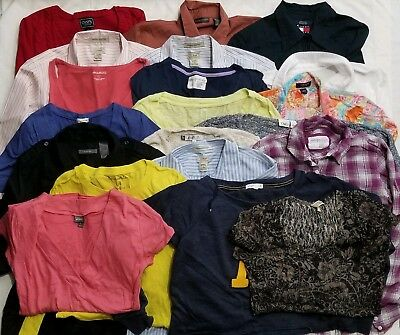 ff21a2cbc9bd2 Women's Bulk Box Bulk Lot Size Large Lot of 20 Name Brand Shirts Blouses  Tops