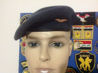 IRAQ-IRAQI AIR FORCE Officer Blue Beret W/ Color Pin Badge
