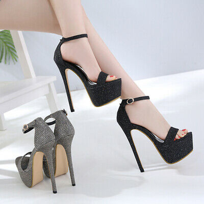 Women Ankle Strap Platform Glitter Sandal Up High Heels Open Toe Shoes Plus Size