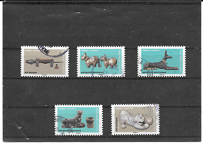 France 2018.Chiens Oeuvres D'art.lot De 5 Timbres Autoadhesifs Cachest Ronds