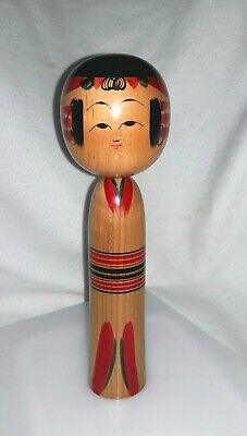 "Vintage 12""  Hand Painted Wooden ▪Japanese KOKESHI DOLL Signed ▪ JAPAN"