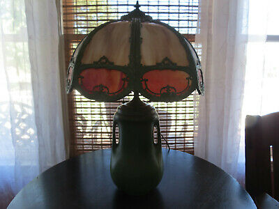 Antique Arts & Crafts Matte Green Pottery Lamp w/ Slag Glass Shade Weller McCoy
