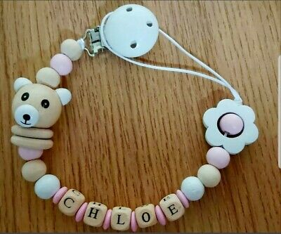 Personalised Baby dummy clip wooden Baby shower christening gift add name