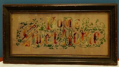 """Antique Victorian Paper Punch Sampler """"Home Sweet Home"""""""