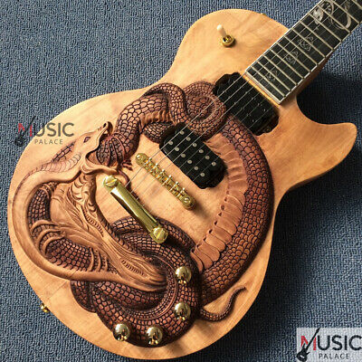 Custom Natural Brown 3D Snake Carved Inlay Electric Guitar FREE SHIPPING