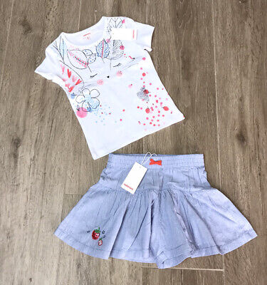 Catimini Girls  Shorts Skirt And Top BNWT age 3/4 Outfit