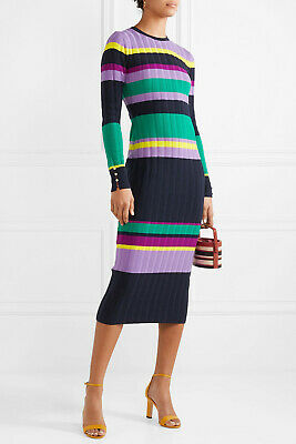 $1090 NEW Lela Rose Ribbed Wool Blend Midi Dress Fitted Lilac Navy Green S M XL