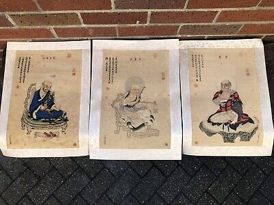 3 Chinese Ink Pictures God Immortals Buddha Seal Marks Calligraphy Paper & Silk