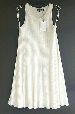 12cd095c1db5 NWT Theory Ottoman Day Ribbed Ivory Sleeveless Dress Large Retail $375.00