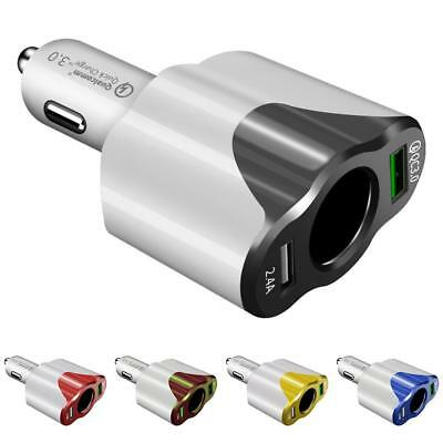 Cigarette Lighter Fast Charging QC3.0+2.4A One-For-Three Double USB Car Charger