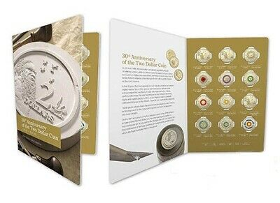 Australia 2018 $2 30th Anniversary of $2 coin 12 Twelve Coloured Coins UNC set,