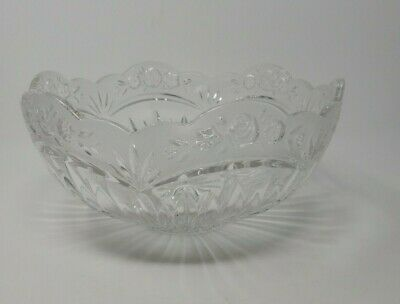 "Oneida Crystal 9.5"" Centerpiece Bowl Southern Garden Frosted Rose Germany"