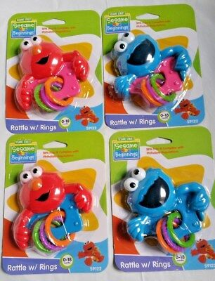 ELMO or COOKIE MONSTER RATTLE WITH RINGS PINK or BLUE 0-18M *AUSTRALIAN STOCKIST