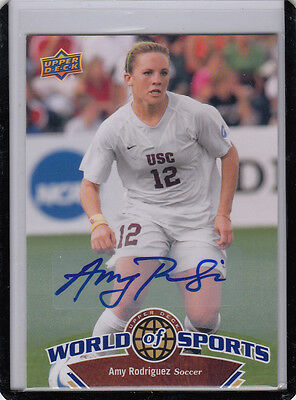 2010UD World Of Sports #115 Amy Rodriguez USA Soccer Auto Autógrafo*