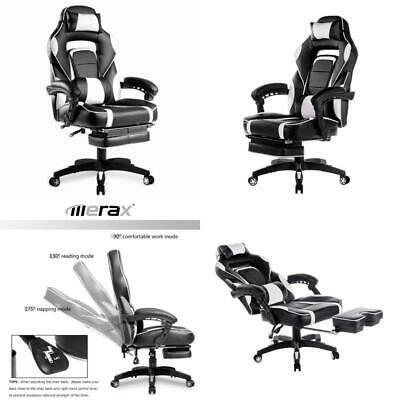 Merax PP033845 High-Back Racing, Ergonomic Gaming Footrest, PU Leather Swivel Co
