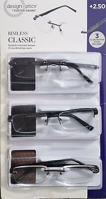 Design Optics Foster Grant Reading Glasses Rimless Classic +2.50