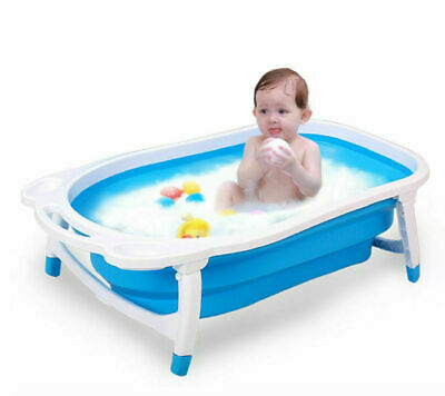 Folding Baby Bath Tube Flat Foldable Recline New Born Baby Bathtub Blue