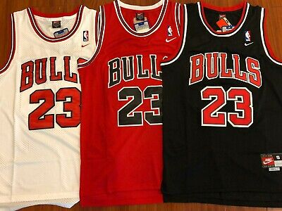 hot sale online f648a f2874 Michael Jordan  23 Red Chicago Bulls Red White Black Jersey Men NWT