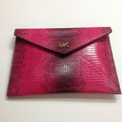 a9cc59d68641 NWT MICHAEL KORS Barbara Ultra Pink Snake Embossed Envelope Clutch/Purse