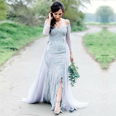 Boho Off Shoulder Evening Wedding Dresses Lace Party Prom Gown Mermaid