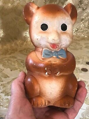 Vintage Piggy Bank Bow Tie, Smiling, Happy Baby Bear. A Sweet Collectible!